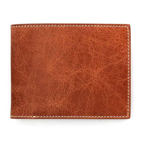 Cognac Slim Leather Wallet, Antique Finish