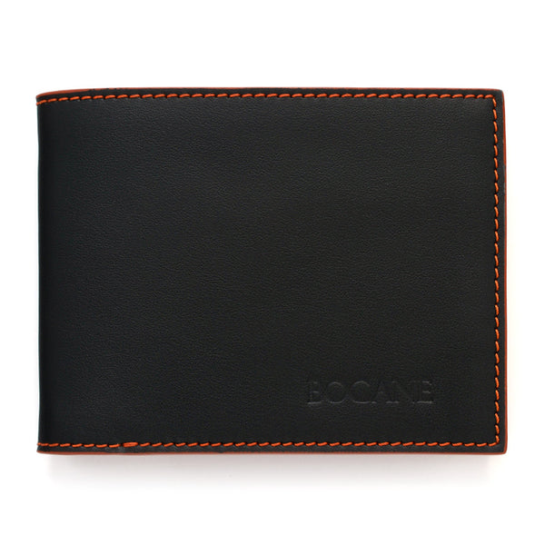 Slim Wallet, Black and Marble Rust Full Grain Leather