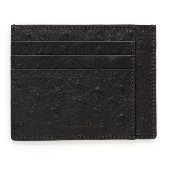 Ostrich Print Leather Wallet, Extra Slim, Deep Brown