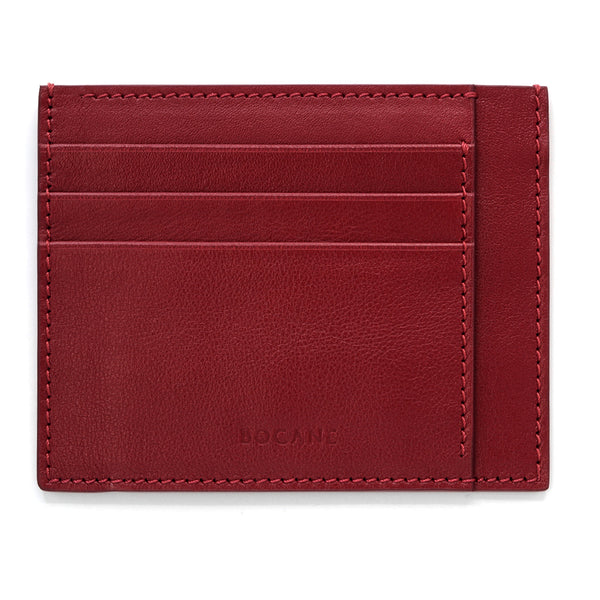 Top Grain Leather Wallet, Extra Slim, Red