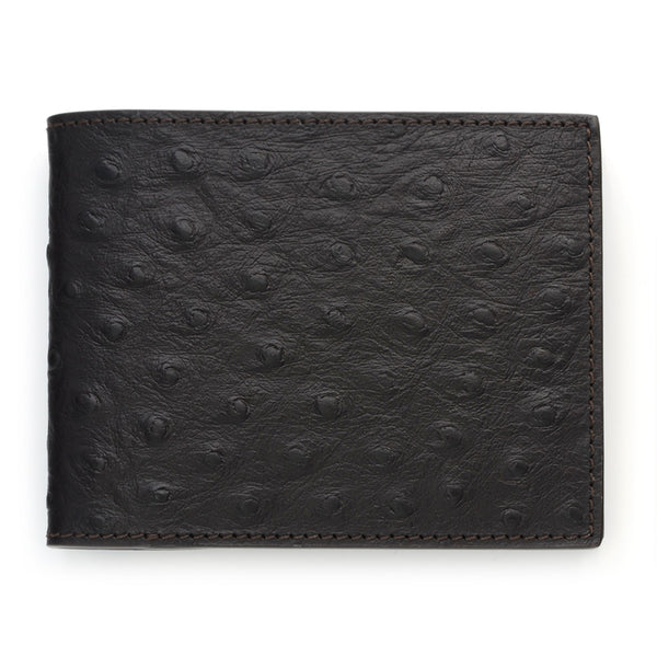 Slim Leather Wallet, Ostrich Print,Brown