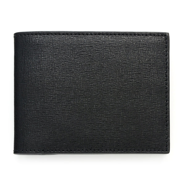 Slim Leather Wallet, Saffiano,Black
