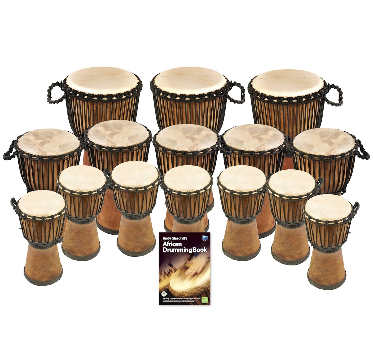 African Drumming – Primary – 15 Wide Top Djembe Drum Pack