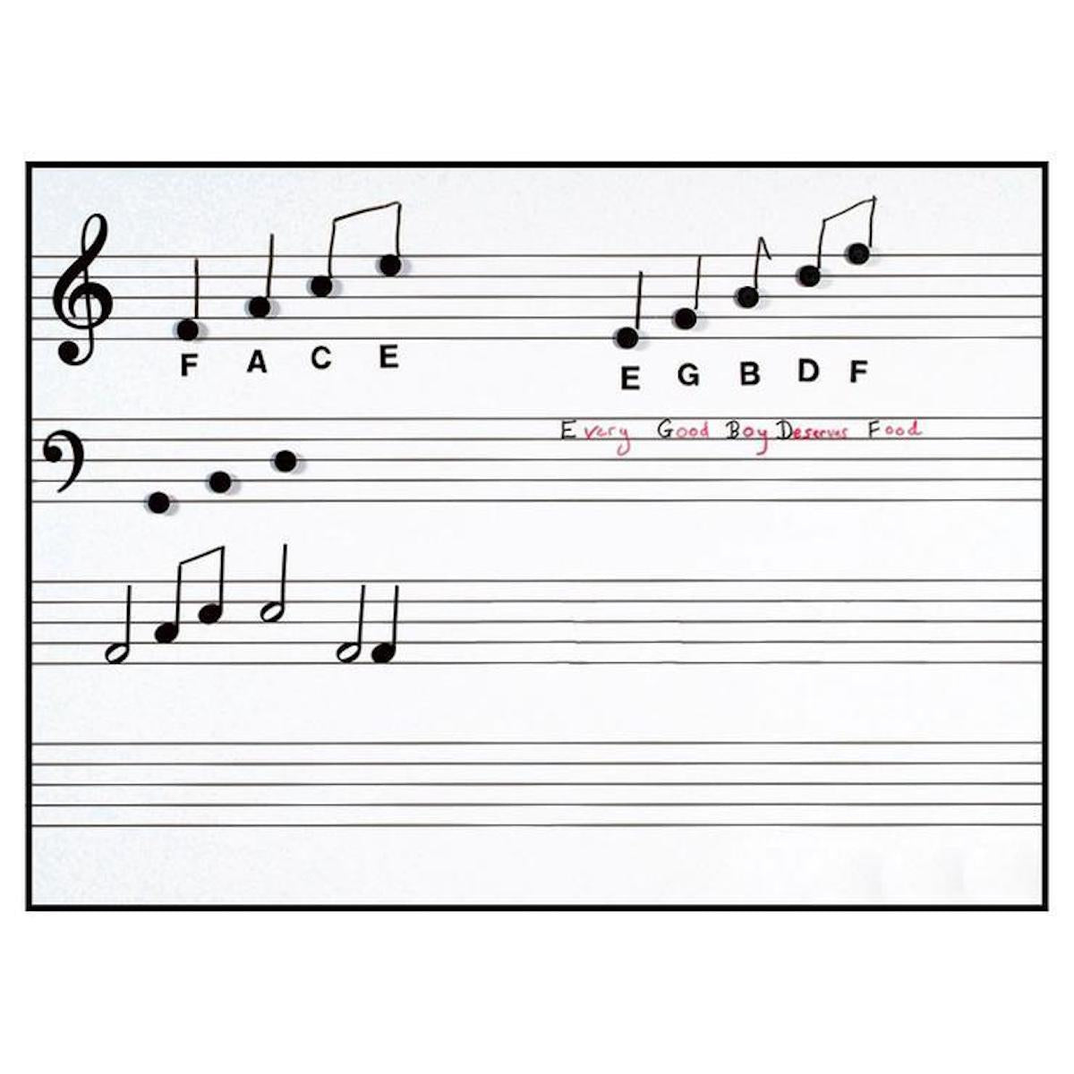 Write n Wipe Printed Music Stave Wall Poster and Pen