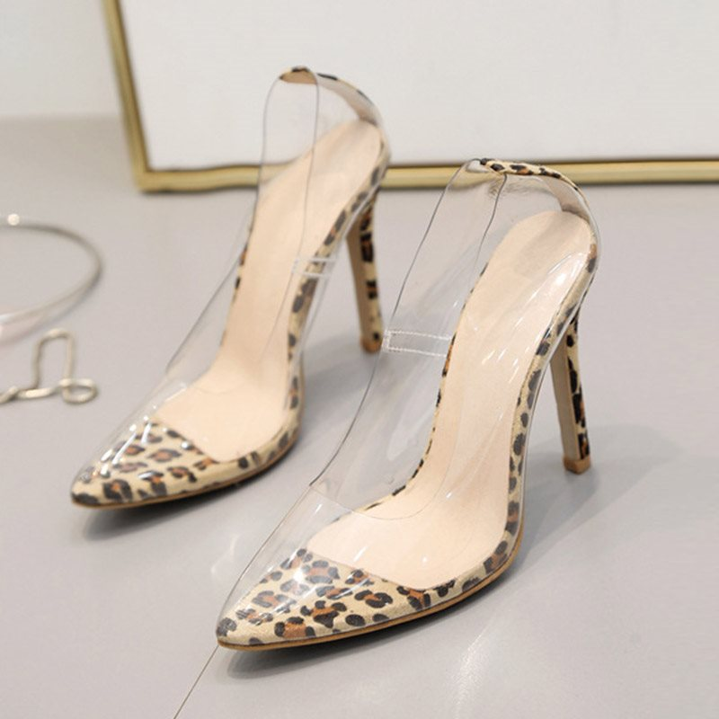 See-Through Pointed Toe Slip-On Stiletto Heel Color Block 11cm Thin Shoes