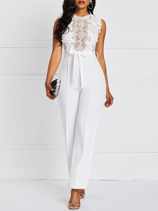 Full Length Plain Hollow High Waist Slim Jumpsuit