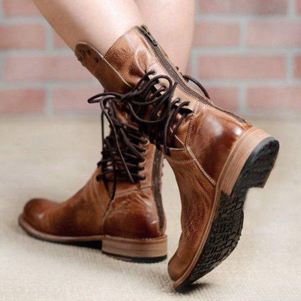 Plain Back Zip Round Toe Block Heel Casual Cotton Boots