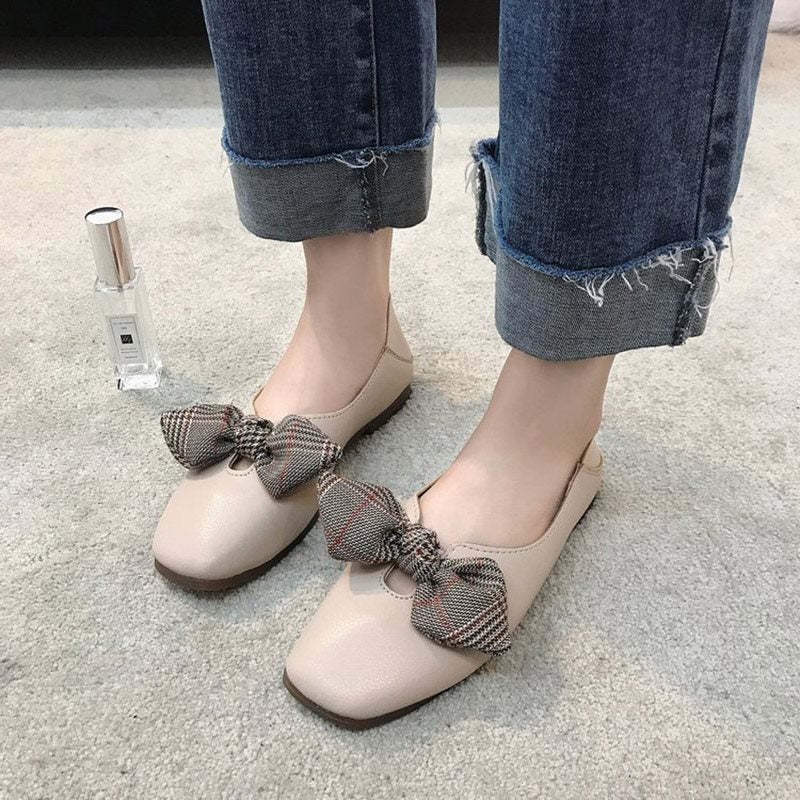 Square Toe Block Heel Slip-On Bow Low-Cut Upper Casual Thin Shoes