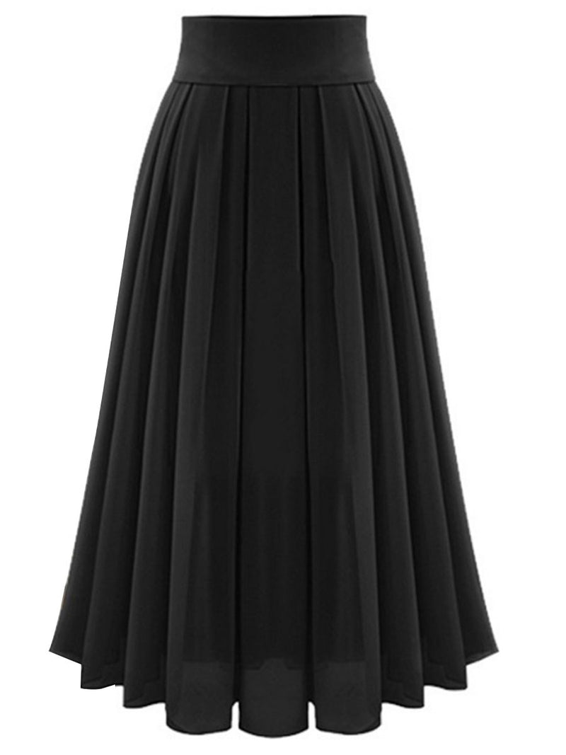Expansion Ankle-Length Plain High Waist Skirt