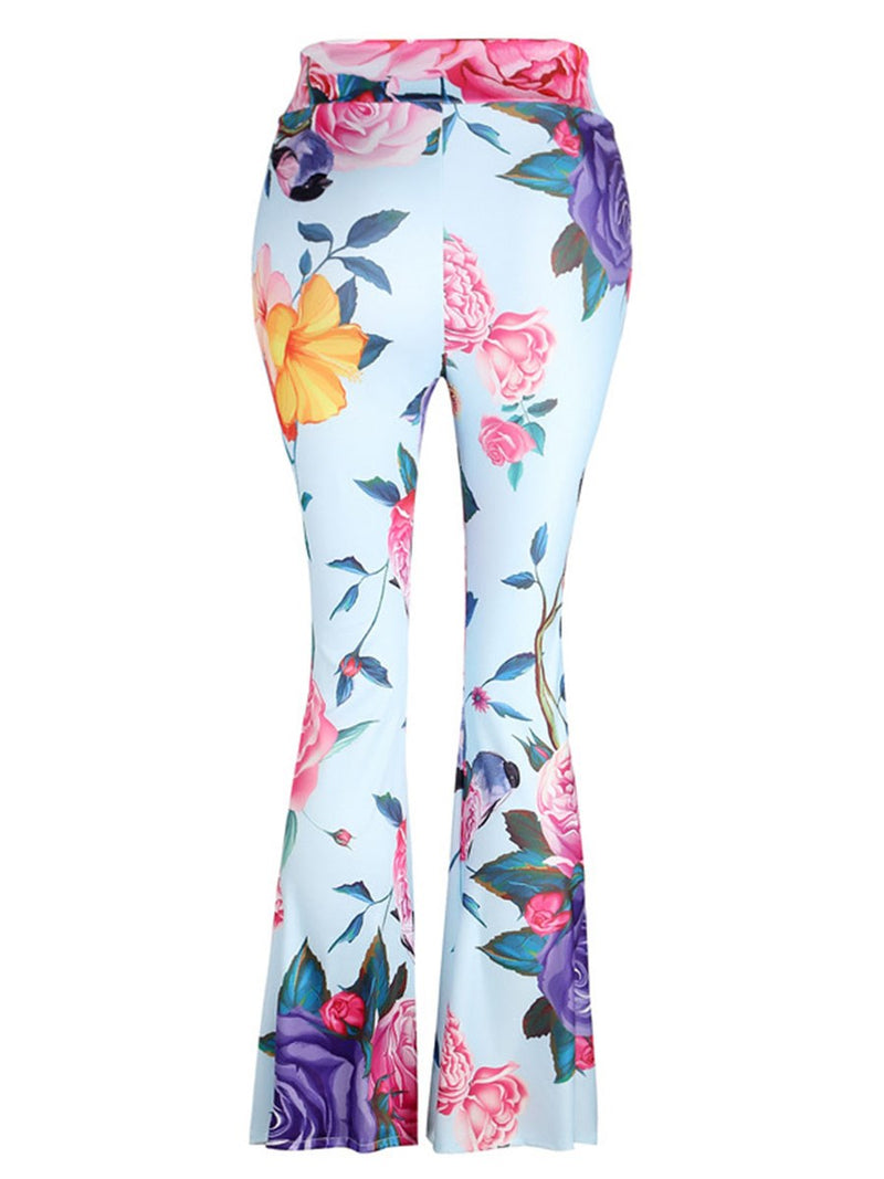 Print Floral Slim Full Length High Waist Casual Pants