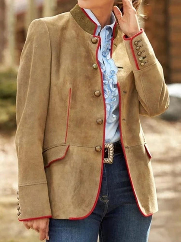 Stand Collar Single-Breasted Long Sleeve Mid-Length Regular Casual Blazer