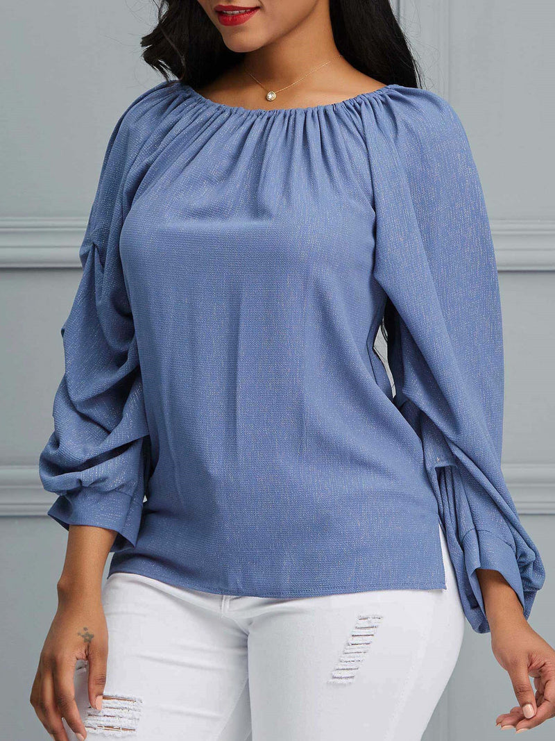 Plain Patchwork Puff Sleeve Mid-Length Three-Quarter Sleeve Blouse