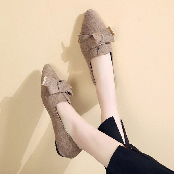 Block Heel Bow Slip-On Pointed Toe Casual Plain Thin Shoes