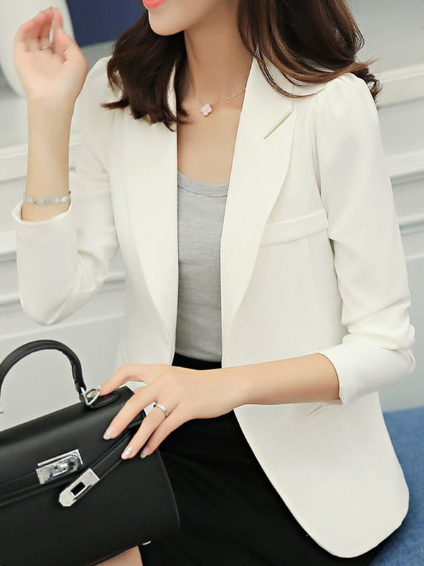 One Button Long Sleeve Plain Standard Spring Casual Blazer