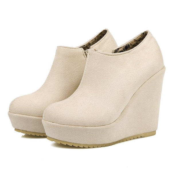 Round Toe Wedge Heel Plain Side Zipper Casual Platform Boots
