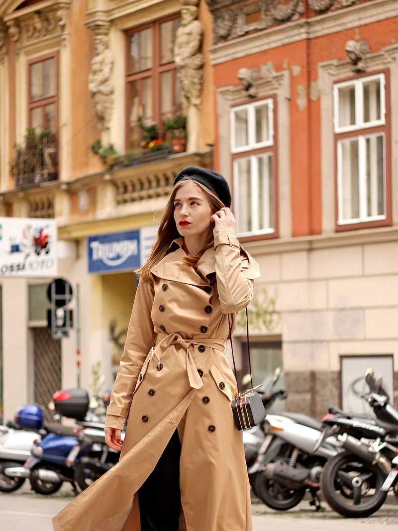 Double-Breasted Long Patchwork Regular Long Sleeve Trench Coat
