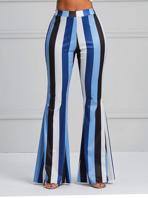 Skinny Print Stripe Full Length Bellbottoms Casual Pants