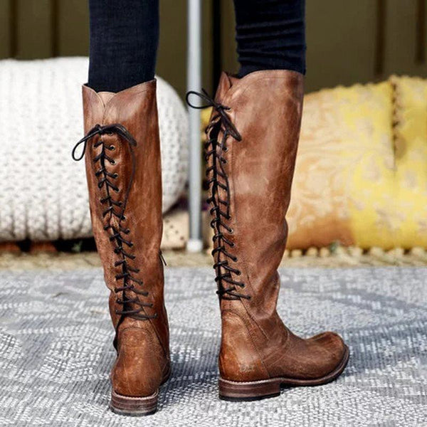 Side Zipper Round Toe Plain Chunky Heel Lace-Up Vintage Boots