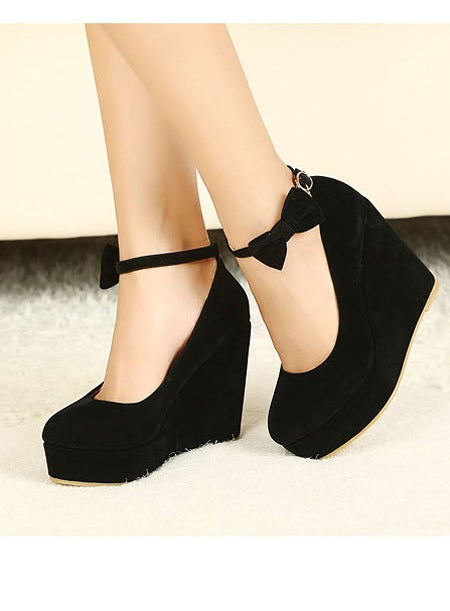 Bow Line-Style Buckle Wedge Heel Round Toe Low-Cut Upper 11cm Thin Shoes