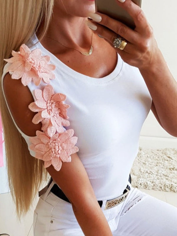 Floral Short Sleeve Round Neck Summer Casual T-Shirt