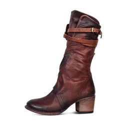Side Zipper Round Toe Chunky Heel Brush Off Casual Boots