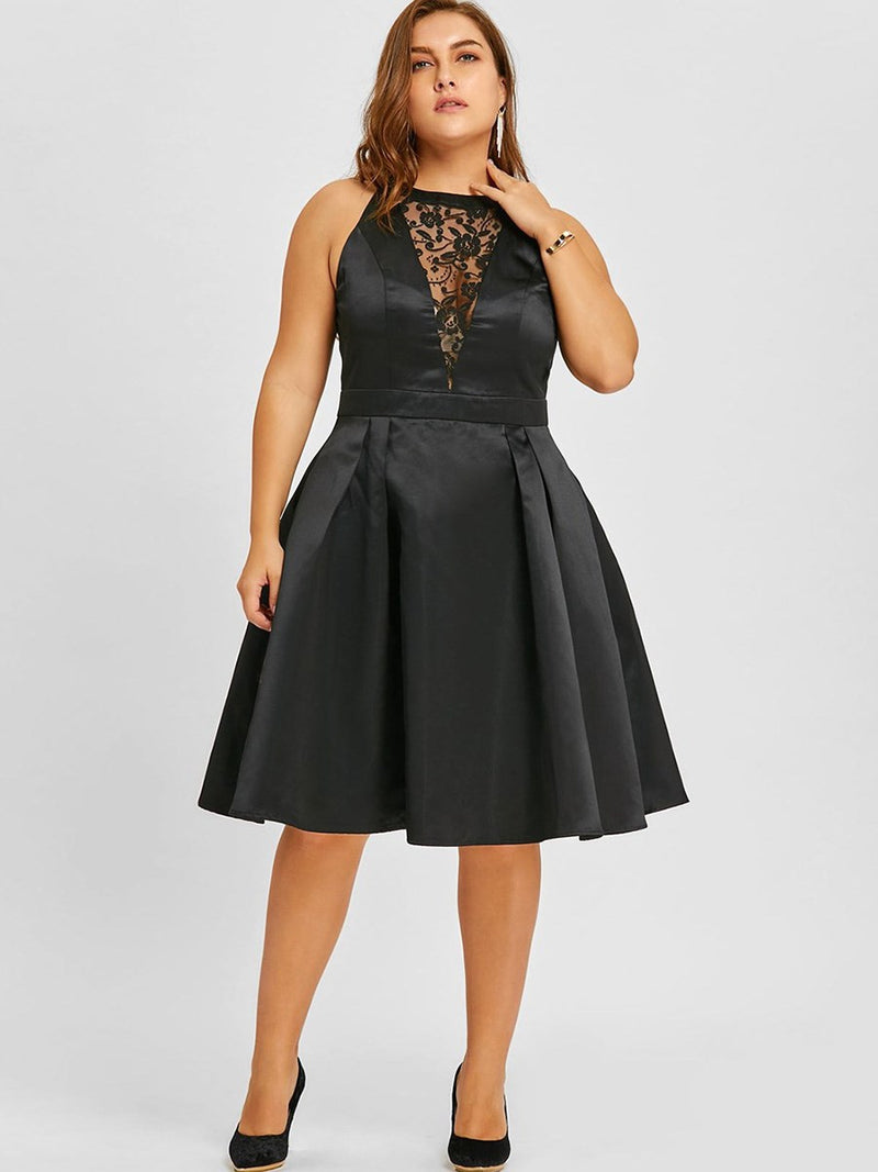 Mid-Calf See-Through Round Neck A-Line Zipper Dress