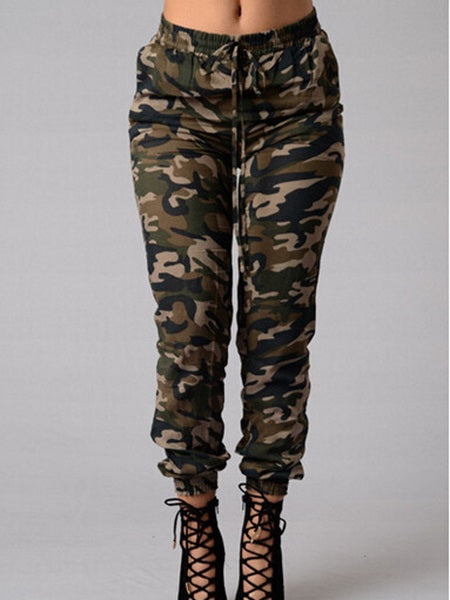 Washable Pencil Pants Camouflage Mid Waist Skinny Jeans