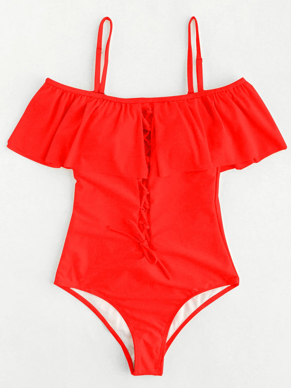 One Piece Plain Lace-Up Swimwear