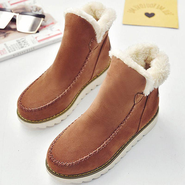 Slip-On Plain Platform Round Toe Casual Platform Boots