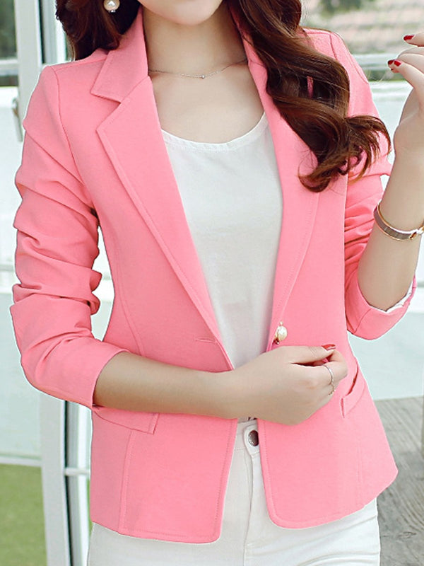 Long Sleeve Plain Summer Standard Casual Blazer