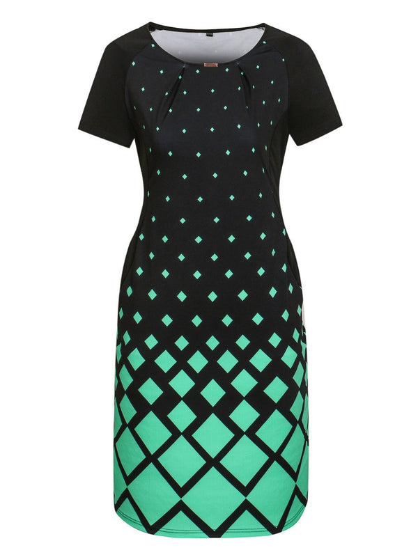 Knee-Length Print Round Neck Bodycon Color Block Dress