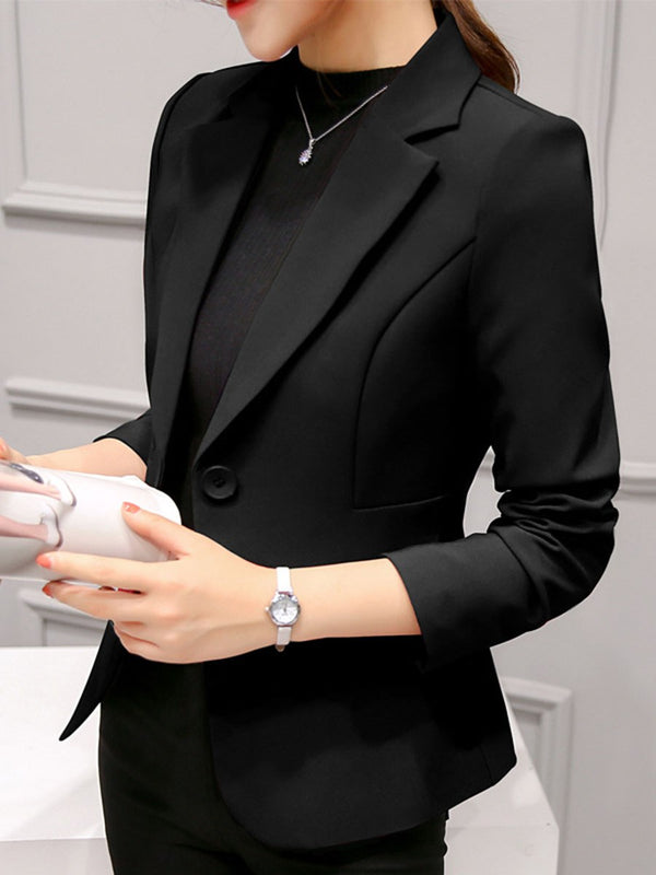 Notched Lapel Long Sleeve Plain Fall Standard Casual Blazer