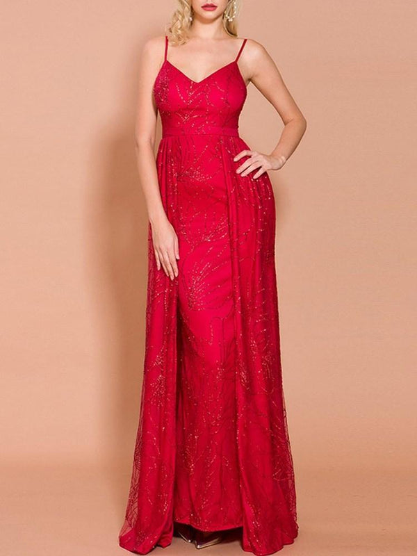 A-Line Floor-Length Spaghetti Straps Sweep/Brush Prom Dress