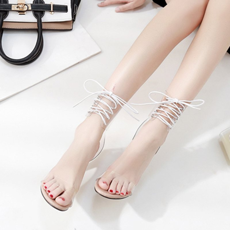 Lace-Up Open Toe Heel Covering Stiletto Heel Plain Casual Sandals