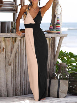 Sleeveless Floor-Length V-Neck High Waist Summer Dress