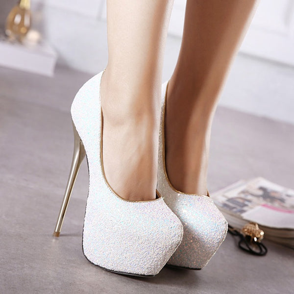 Round Toe Platform Stiletto Heel Slip-On Western Casual Thin Shoes