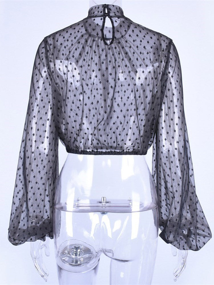 Lantern Sleeve Polka Dots Asymmetric Short Long Sleeve Blouse