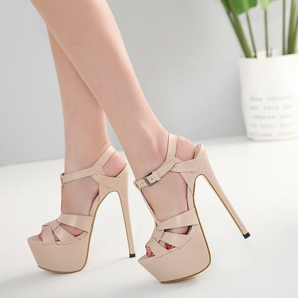 Strappy Open Toe T-Shaped Buckle Stiletto Heel Platform Low-Cut Upper Sandals
