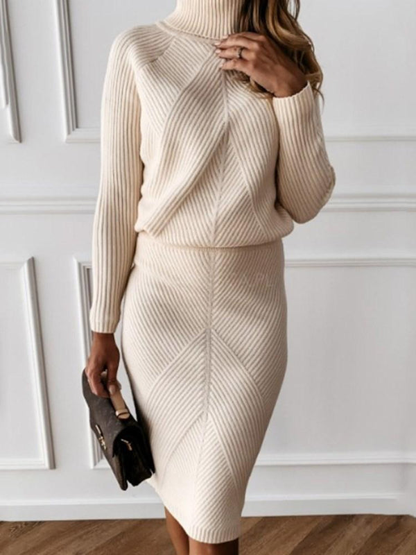 Knee-Length Turtleneck Long Sleeve Plain Bodycon Dress