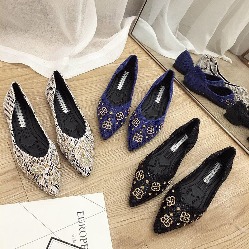 Slip-On Pointed Toe Block Heel Beads Casual Flat Heel Thin Shoes