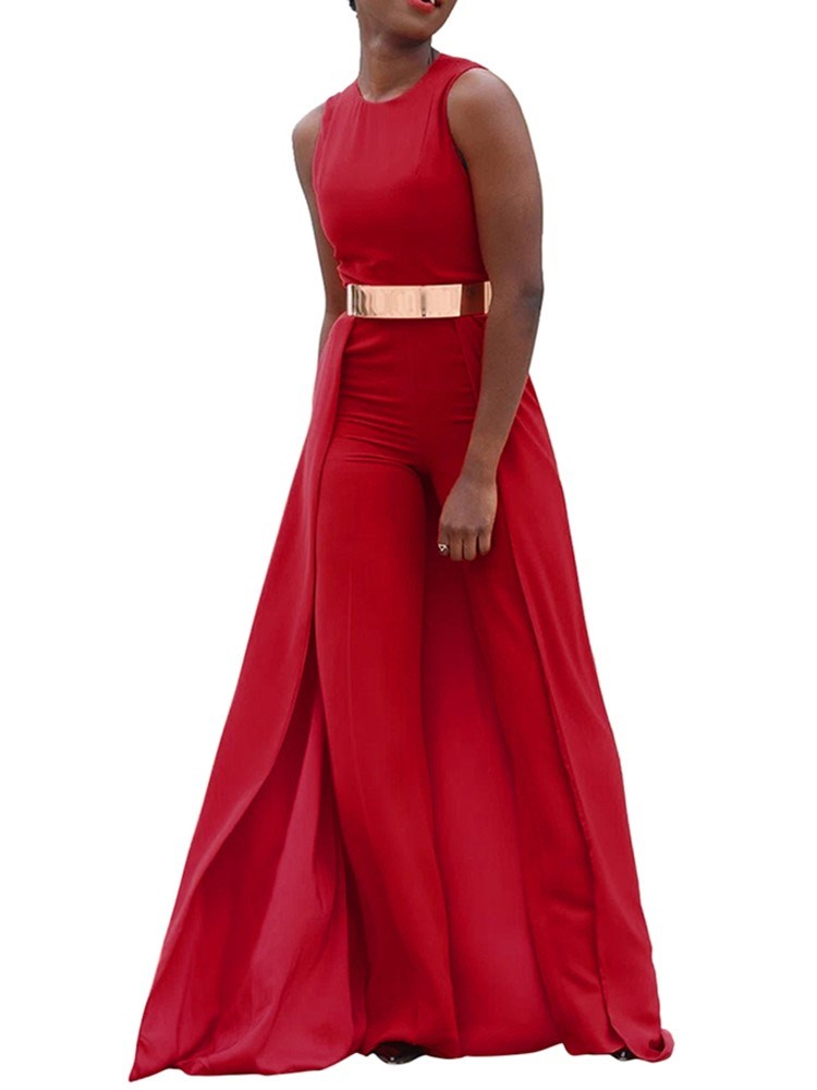 Belt Fashion Full Length Slim High Waist Jumpsuit