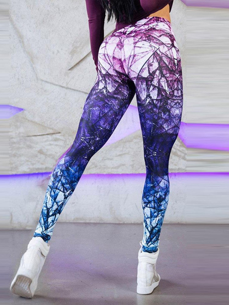 Patchwork Polyester Gradient Yoga Fall Full Length Pants
