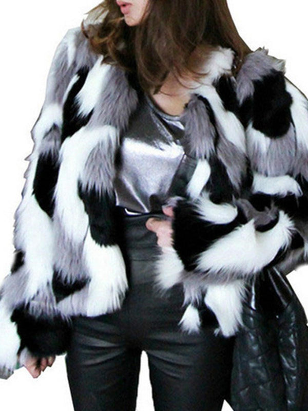 Standard Color Block Straight Winter Faux Fur Overcoat