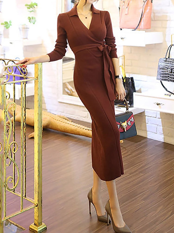 Lapel Long Sleeve Mid-Calf Pencil Regular Dress
