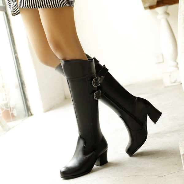 Block Heel Lace-Up Front Round Toe Plain PU Casual Boots