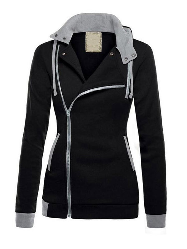 Zipper Regular Color Block Standard Spring Hoodie