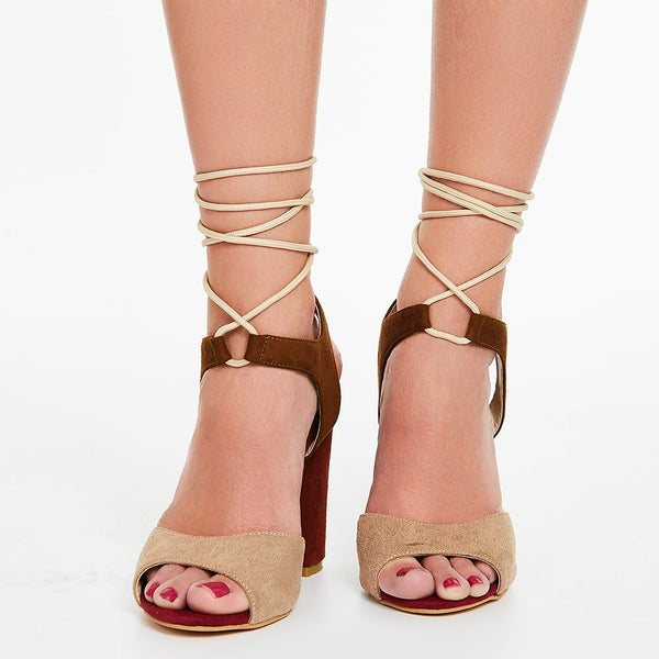 Open Toe Block Heel Lace-Up Cross Strap Color Block Sandals