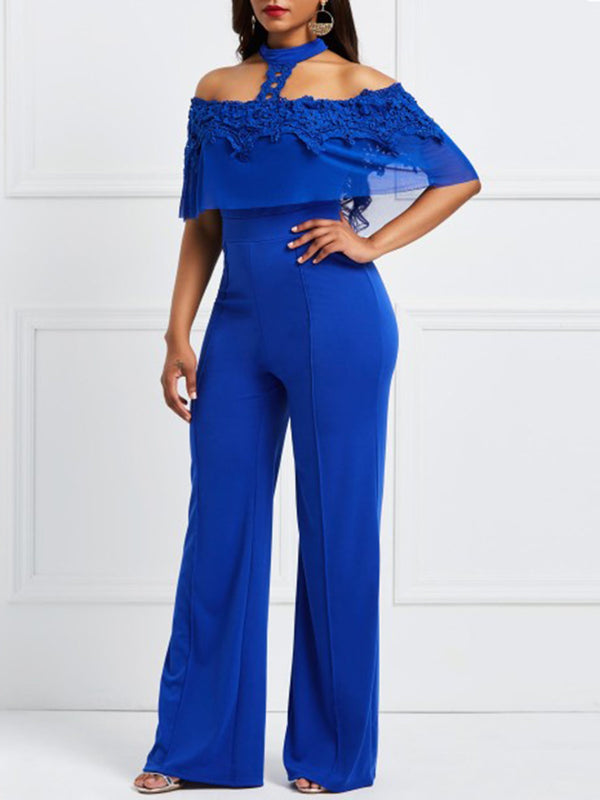 Full Length Backless Plain Wide Legs Slim Jumpsuit