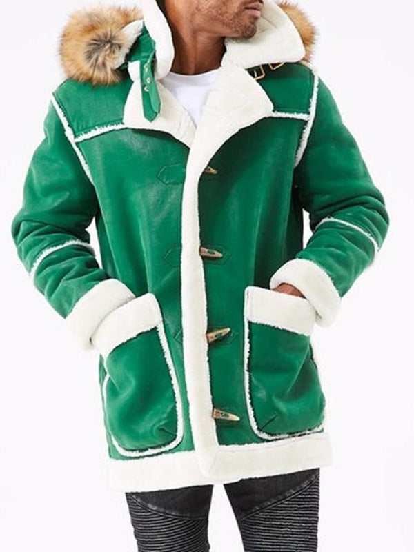 Thick Color Block Hooded Casual Winter Jacket