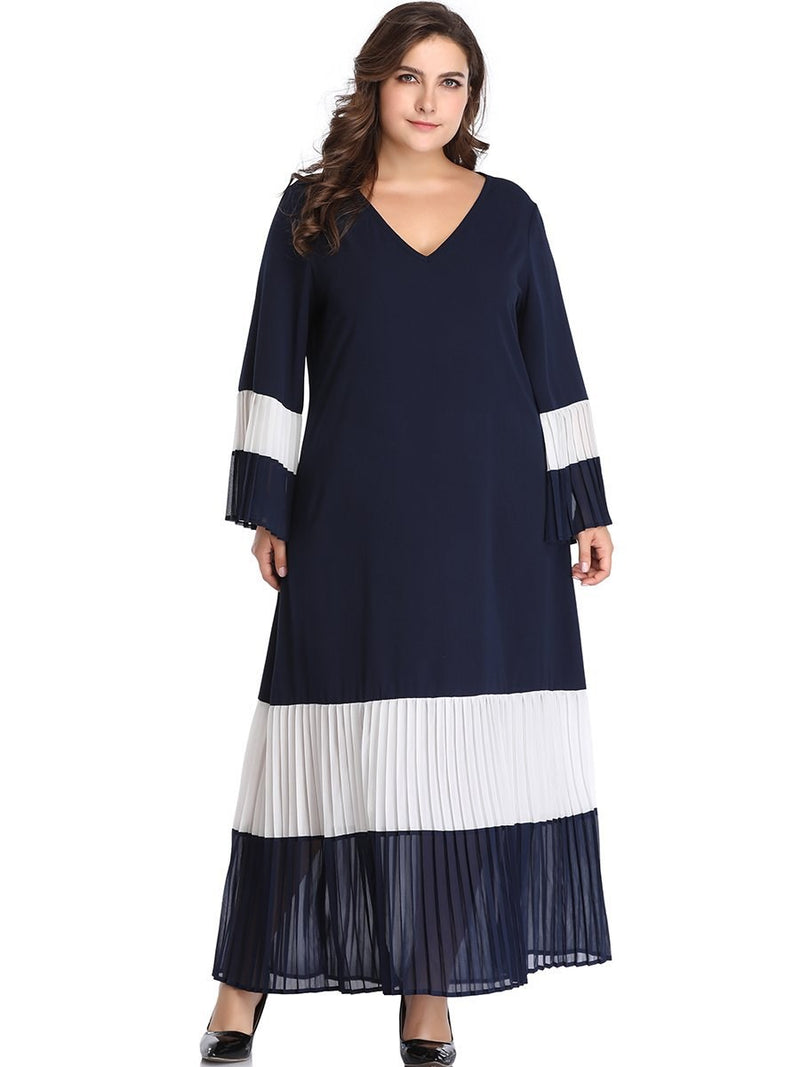 Pleated Long Sleeve V-Neck Flare Sleeve Color Block Dress